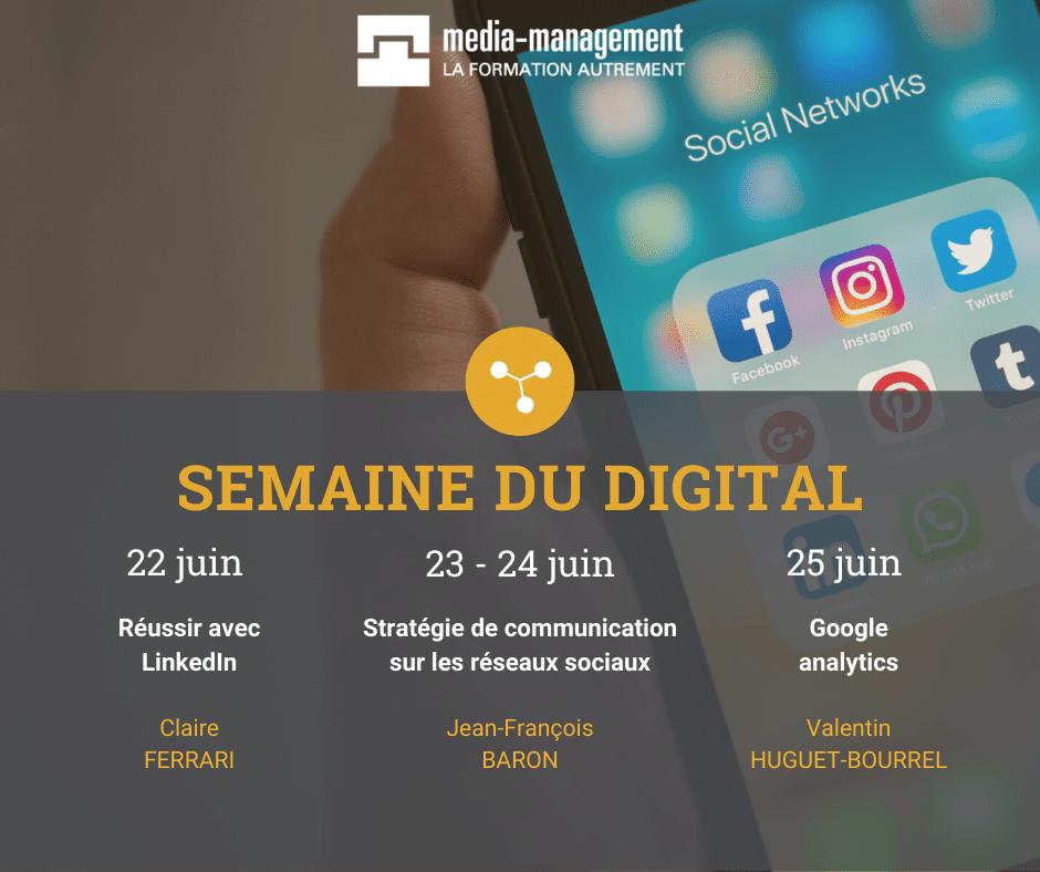 semaine du digital Compiègne. Formation SEO google analytics linkedin réseaux sociaux