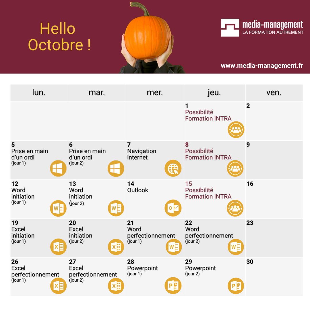 calendrier oct 2020 formation word excel powerpoint