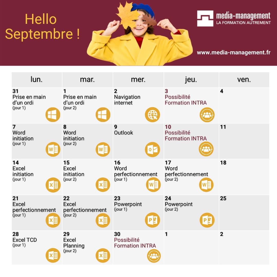calendrier formation bureautique à distance ou présence et CPF