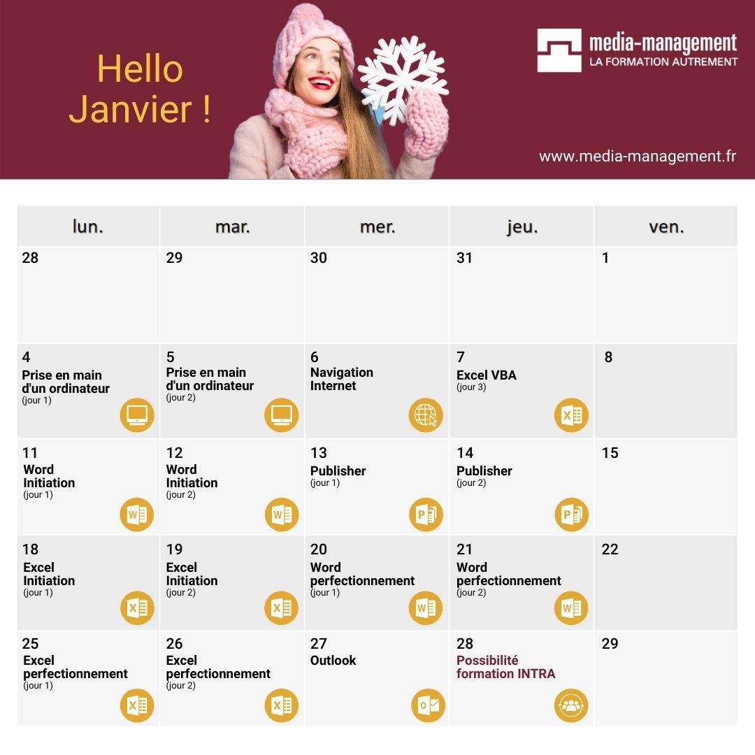 calendrier formation bureautique anier