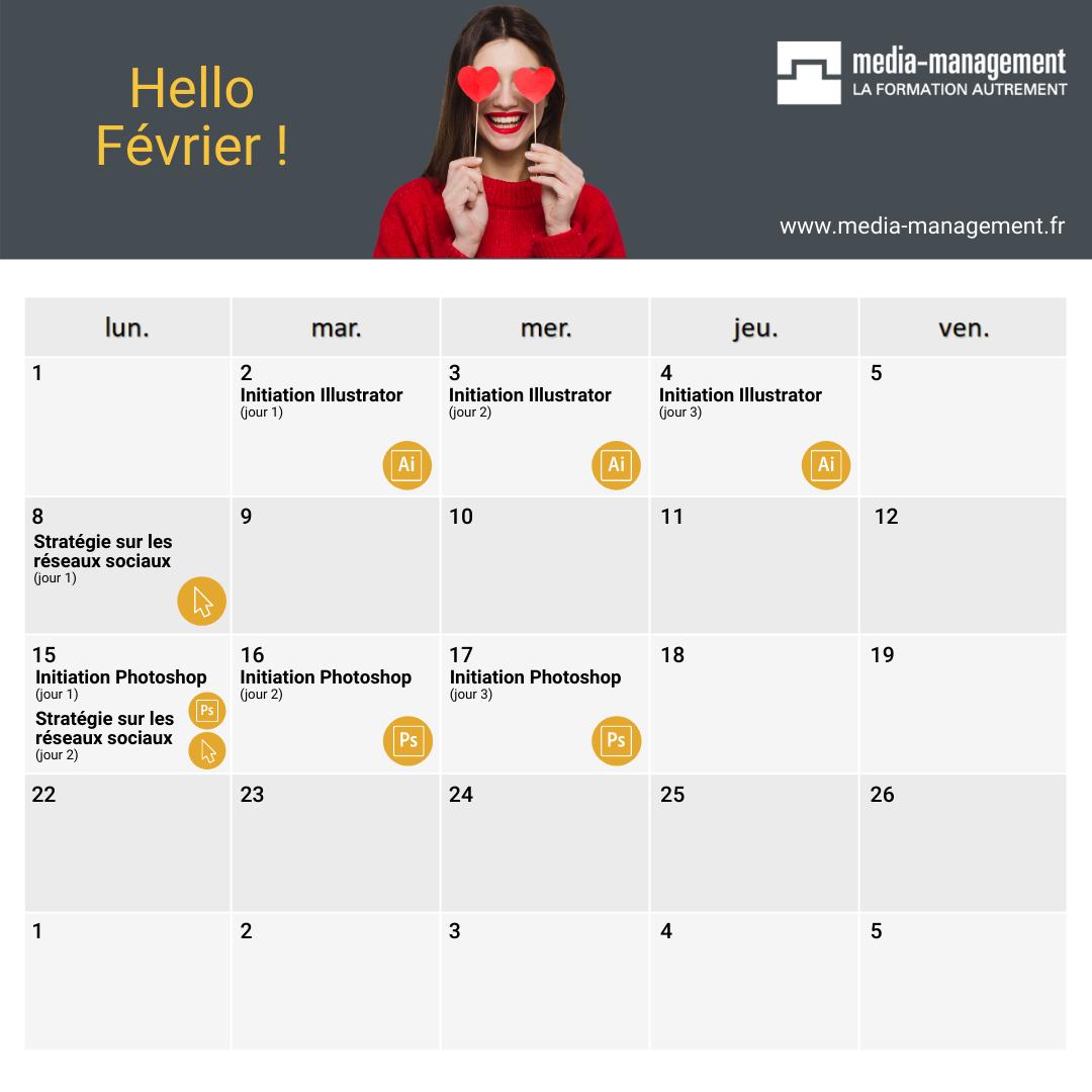 calendrier formation photoshop illustrator indesign community manager réseaux sociaux